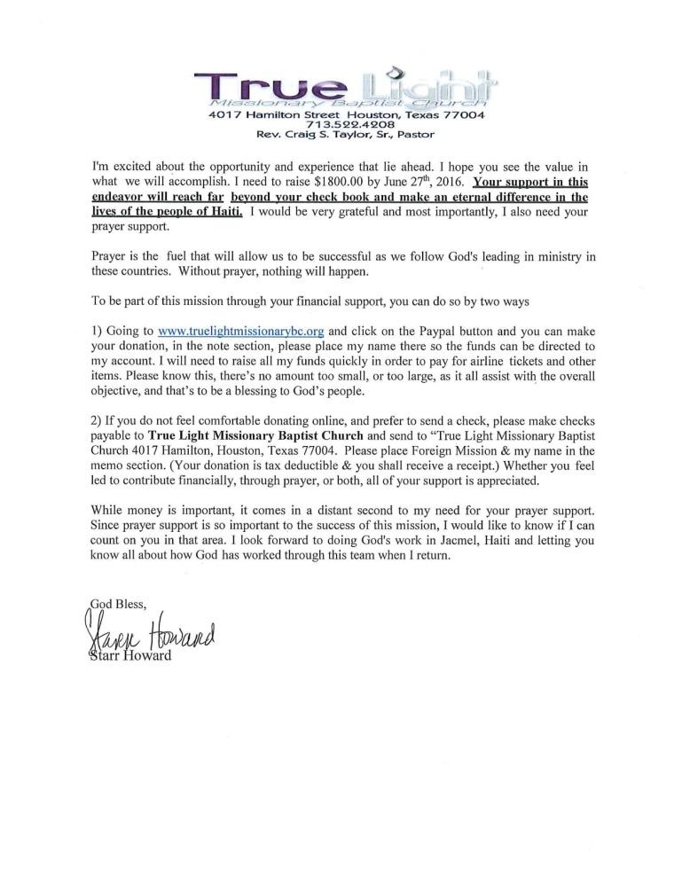 Haiti Donation Letter
